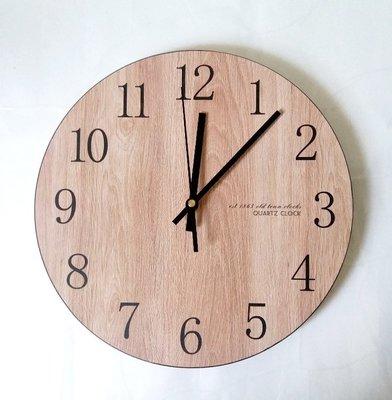 Osmileooo-無框木紋靜音時鐘 掛牆鐘 29cm