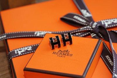 Hermes Boucles Oreilles Pop H Plaque H 耳環 黑/玫瑰金 現貨
