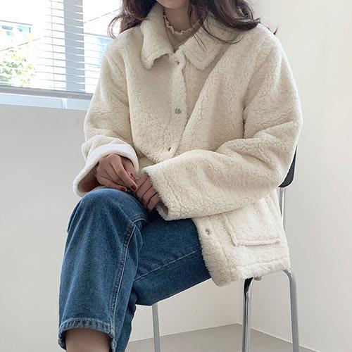 i-Mini 正韓|蓬鬆可愛保暖絨毛方口袋外套|3色‧ 韓國連線‧代購‧空運【11173854PO】