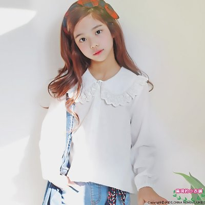 [memene] 日韓版女童 棉質娃娃領 蕾絲上衣