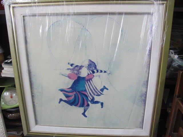 二手舖 NO.1387 蠟筆畫 藝術畫 歡樂雙人人偶 附框