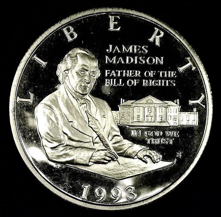 [免運] 美國 1993 麥迪遜總統權利法案 紀念銀幣 Bill of Rights, James Madison