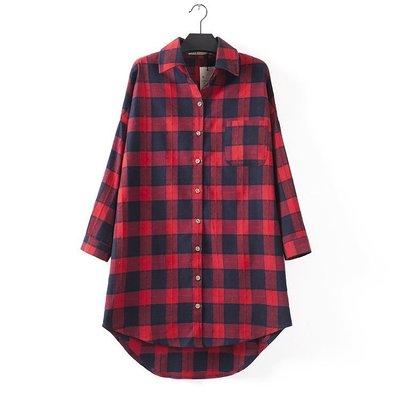 c133韓國連線-新款格子花紋前短後長中長款長袖襯衫 _紅格..有3色