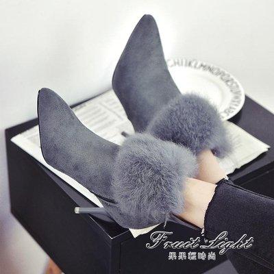 ☜男神閣☞細跟裸靴流蘇毛毛鞋尖頭中跟馬丁靴磨砂加絨短靴子細跟高跟女鞋