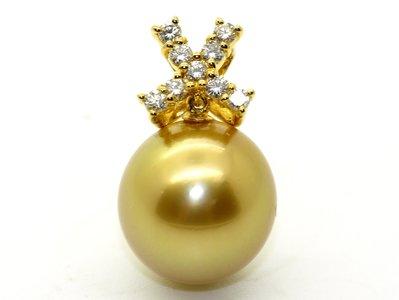 天然南洋金珠 珍珠  13mm 鑽石吊墜 附保證書 六月生日石 母親節禮物【大千珠寶】台北五十年寶石專賣店