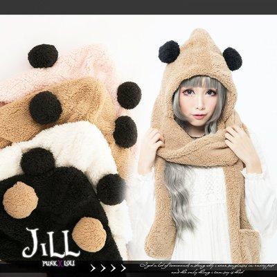 Oo吉兒oO蘿莉塔可愛童話超人氣 熊貓造型羔羊絨米粒連帽式圍巾手套 圓圓 LOLITA【J2Y6002】