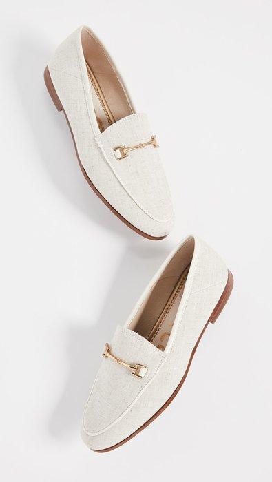 ◎美國代買◎Sam Edelman 金屬鏈裝飾鞋面地中海風格亞麻布面金屬鏈樂福平底鞋~歐美街風~大尺碼
