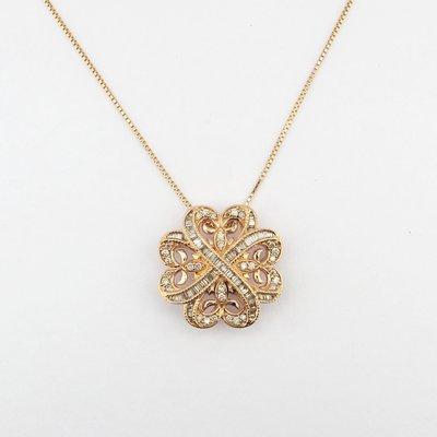 【JHT金宏總珠寶/GIA鑽石專賣】幸運草天然鑽石墜鍊/材質:750(JB47-A34)