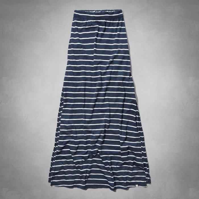 Maple麋鹿小舖 abercrombie&fitch * a&f 女童款藍白條紋開岔長裙 * ( 現貨M號 )