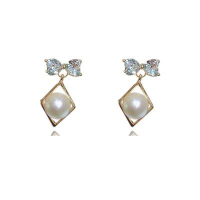 加恩韓版韓式s925銀微鑲淡水珍珠水晶蝴蝶結耳釘 創意新款菱形耳釘 女12311