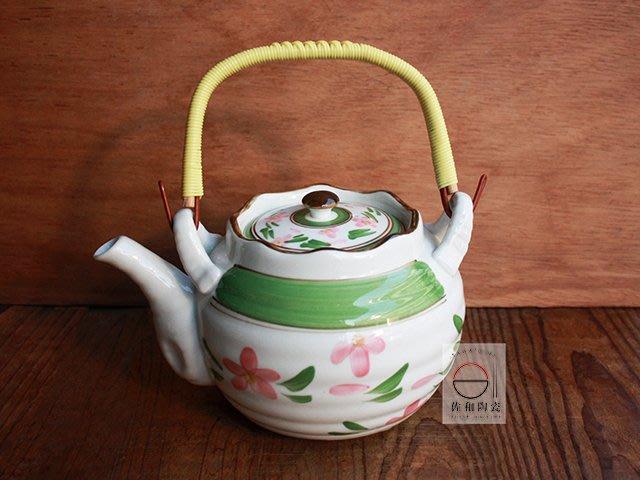 +佐和陶瓷餐具批發+【XL298 綠花紋大提壺】 茶壺 水壺 泡茶壺 提把壺