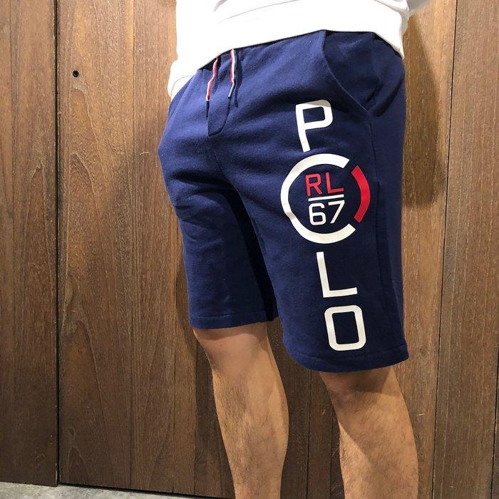 美國百分百【全新真品】 Ralph Lauren RL 大馬 短褲 休閒 棉褲 經典LOGO 深藍 AO08