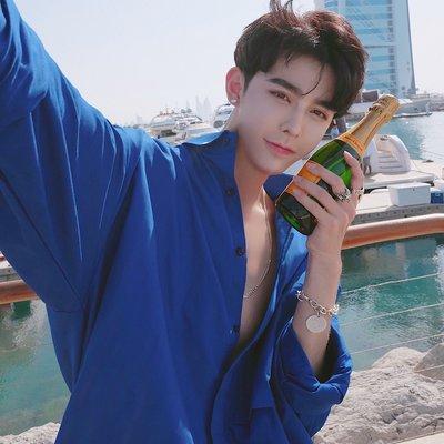 襯衫 韓版 ins韓國休閑夏季蔚藍色長袖襯衣薄款 防曬服純棉時髦寬松男士襯衣