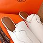 Hermes 限量不規則馬頭車線穆勒鞋 mules 真皮低跟休閒鞋 涼鞋 拖鞋