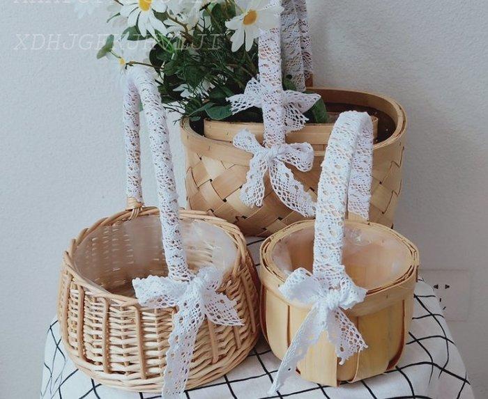 紫滕戀推出手提蕾絲編織藤編籃木片花籃插花禮品包裝籃伴手禮品籃回禮籃