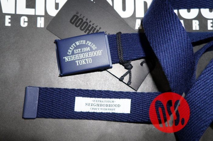 「NSS』NEIGHBORHOOD 16 CWP TYO MA BELT 皮帶 腰帶 黑 藍