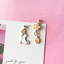 IN House*🇹🇼現貨 Earring 貓咪 櫻花 不對襯 耳環  垂墜 釉彩 925 銀針 耳釘 耳飾
