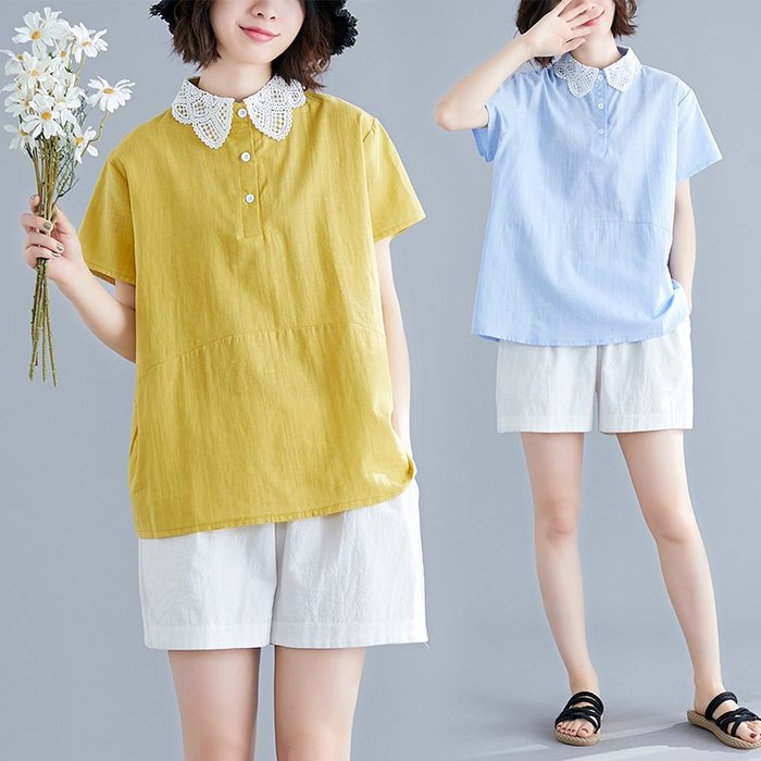 大碼襯衫胖妹妹洋氣寬松減齡遮肚子顯瘦時髦百搭上衣新款夏裝棉麻上衣 短T 繡花上衣