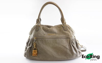 [Eco Ring HK]*Miu Miu Shoulder Bag Olive Leather*Rank BC-207001802-