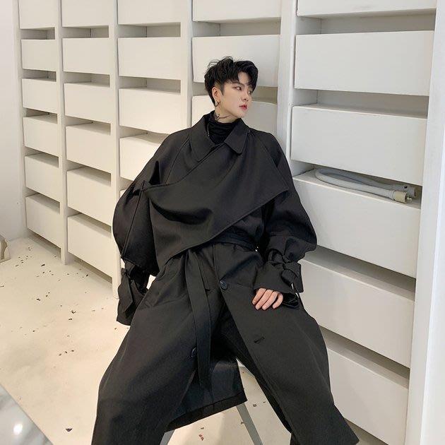 FINDSENSE 2019 秋冬上新 G19  暗黑山本風復古流行寬鬆風衣黑色長大衣男裝百搭寬鬆休閒外套