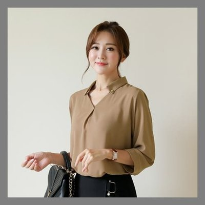 ♥金色鈕釦OL襯衫【kr7196】