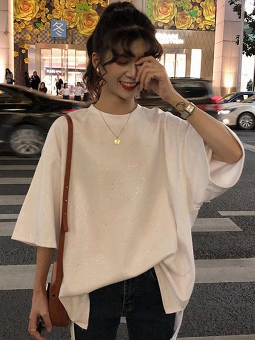 夏季女裝短袖T恤 亮片短袖T恤上衣女春季新款韓版原宿網紅百搭寬松打底衫學生