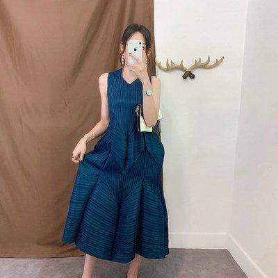 無袖洋 裝 連身 長裙-V領褶皺寬鬆背心裙女裙子9色73yf1[獨家進口][米蘭精品]