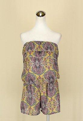 貞新二手衣 韓 黃色印度民俗圖紋平口露肩雪紡紗連身褲F號(11953)