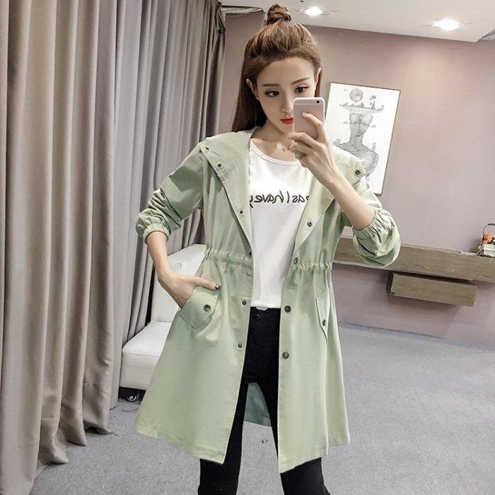 風衣秋季新款韓版時尚連帽中長款純色長袖風衣外套女休閒收腰上衣