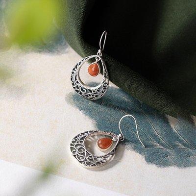 加恩S925純銀鑲嵌南紅瑪瑙耳墜復古民族風女士鏤空個性耳環耳飾-nn07