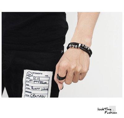 歐美爆款男生鈦鋼皮革編織手鍊 手鏈 手環 手鐲 型男必備 簡約百搭 時尚佩飾 磁扣 316L 生日禮物 交換禮物