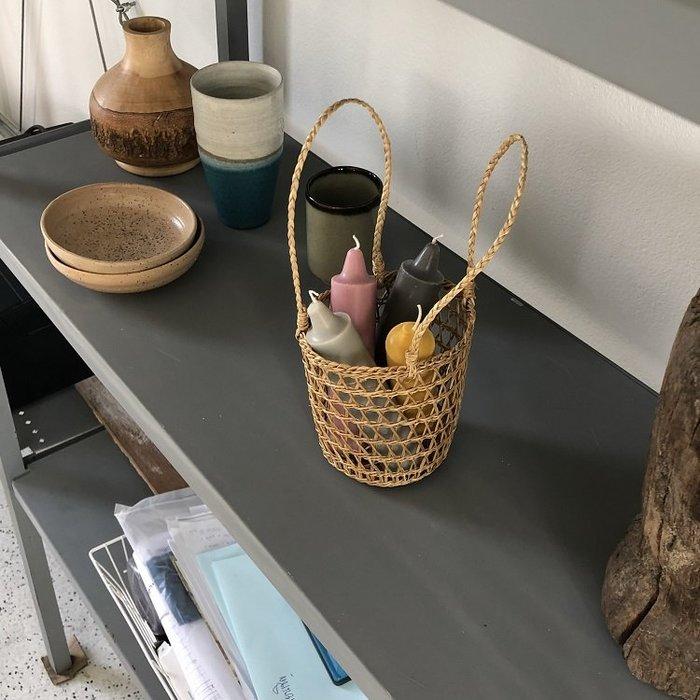 JYUN'S 春夏新款草編包手提籃編織小桶子花籃桌面收納裝飾擺拍道具籃子 簡約風 2色 預購