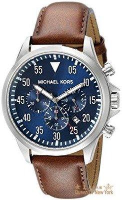 【紐約女王代購】Michael Kors MK8362 手錶 45mm 銀色錶框 咖啡皮錶帶 藍色面盤 男錶女錶 美國連線代購