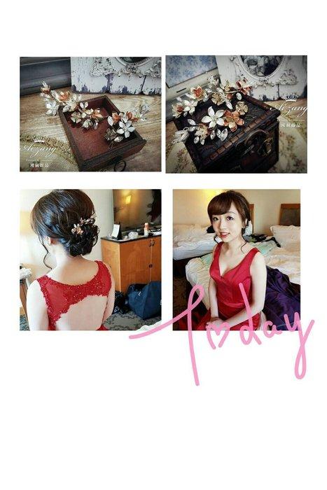 ~璦藏新娘飾品~花朵延伸造型頭飾組 編號O529