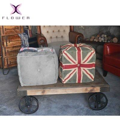 [ 夏法羅 傢俱 ]  進口手工做舊布矮凳 沙發凳 腳椅 XF-D31