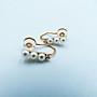 %玉承珠寶%天然珍珠14k玫瑰金夾式珍珠鑽石耳環DE3