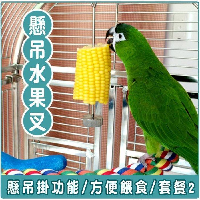 鳥兒餵食 懸吊式水果叉高品質全不鏽鋼鸚鵡用雙功能水果叉 套餐2