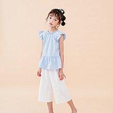 中大童 優質 女童【Q寶童裝】夏款 CU-064 後背開扣飛袖上衣+闊腿褲 套裝