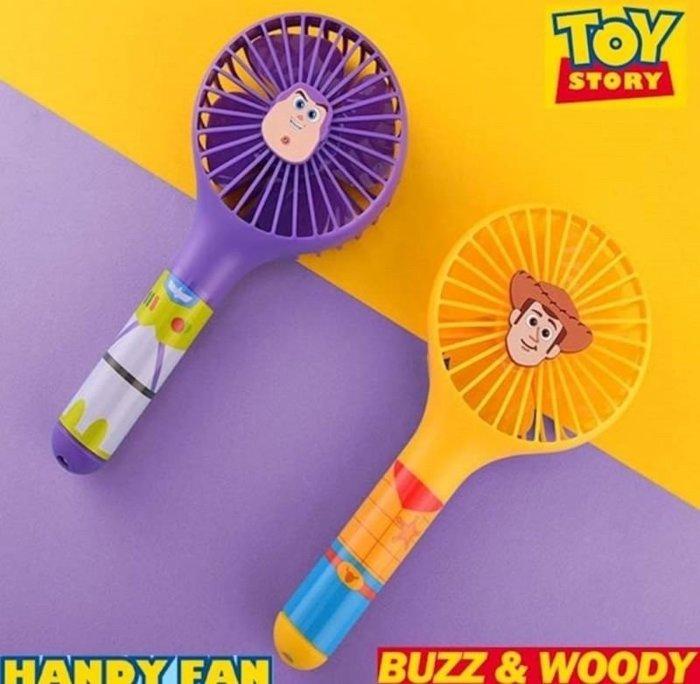 Luxury】韓國限定 迪士尼 皮克斯 玩具總動員 胡迪 巴斯光年 限量款 攜帶式電風扇 黃色 紫色