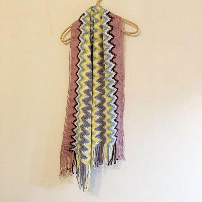 薰衣草紫藍白黃灰鋸齒幾何圖騰勾織編織長型圍巾 貓咪曬月亮