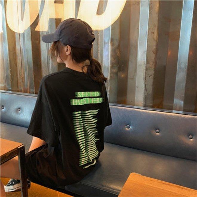 FINDSENSE G6 韓國時尚潮流 2019夏季新款寬鬆百搭SPEED HUNTERS圓領短袖T恤中長款女裝上衣