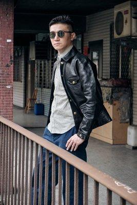 就是愛古著日本Sturdy DRIVING LEATHER JACKET 匠人手做栃木多脂革夾克