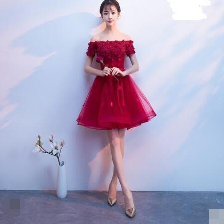 婚禮洋裝 敬酒服新娘 新款紅色宴會派對洋裝訂婚回門小禮服名媛短款顯瘦連身裙—莎芭