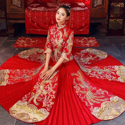 囍服 新娘服 敬酒服 中式婚紗秀禾服中式婚紗新款新娘出閣服古裝嫁衣敬酒服結婚中式禮服
