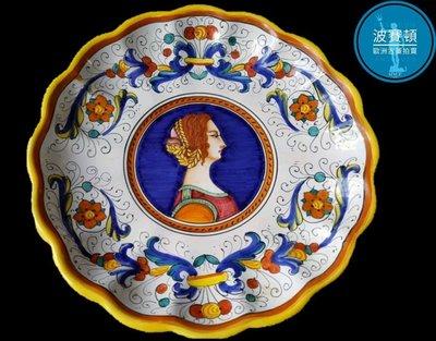 【波賽頓-歐洲古董拍賣】歐洲/西洋 意大利古董 意大利托斯卡尼手工彩繪瓷盤 B款(年份:1940年)(直徑:31cm)(落款:APS Epuro 289/23)