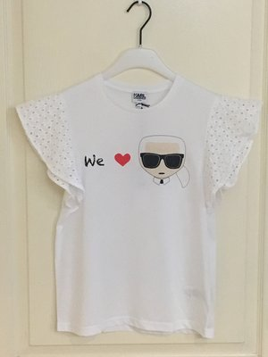 全新 Karl Lagerfeld  graphic-print ruffled T-shirt 16A 現貨一件