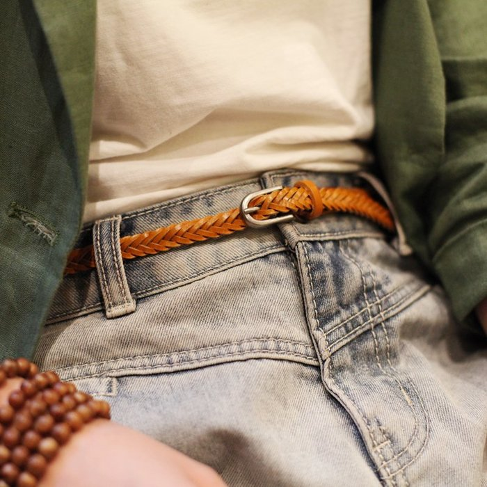 ~皮皮創~純手工真皮編織腰帶頭層植鞣牛皮配裙子褲子都可以的編織牛皮帶 適合女生搭配連身裙
