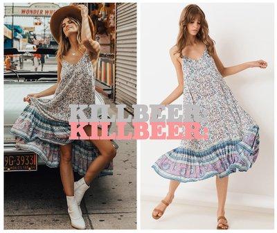 KillBeer:波希米亞嬉皮風之 歐美復古異域民族風靛藍粉紫圖騰花朵印花露背吊帶裙傘擺連身裙洋裝100504 新北市