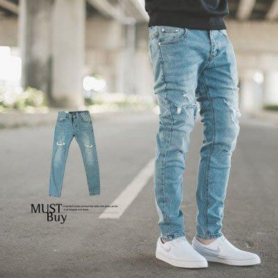 柒零年代【NB0056J】韓國製彈性腰帶造型割破牛仔褲(LE-PA71)