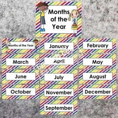 の青檸小站の 英文學校 月份星期中英文墻貼教室裝飾幼兒單詞貼紙 英語教師教具